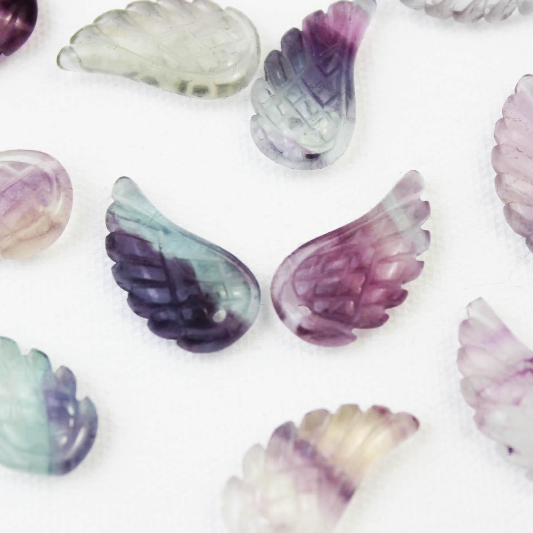 【一粒売り】バラ石 天使の羽 翼 フェザー フローライト 素材 パーツ 天然石 パワーストーン