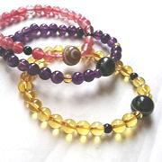 チベット天眼石とお願い別パワーストーンのブレスレット3種(愛・金運・守護)