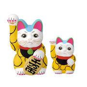 ■【縁起置物/招猫/インバウンド】唐草招き猫 イエロー