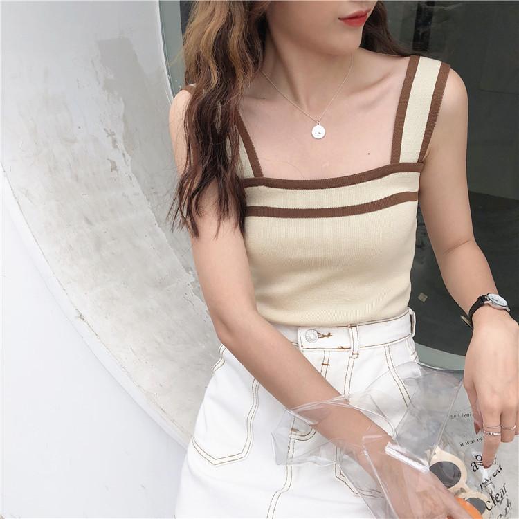 2019新品発売/韓国ファッション/上品/女性らしい/高品質で/大人気/CHIC気質/スリム/ニット/タンクトップ