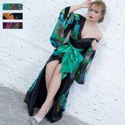 0693フラワープリントリボンつきロング着物ドレス 和柄 よさこい 花魁 コスプレ キャバドレス
