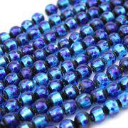 連 とんぼ玉 ホタルガラス 蓄光無ver ブルー 丸 6mm 品番: 10838