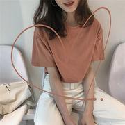 初春 新しいデザイン 女性服 ファッション シンプル 単一色 丸襟 半袖Tシャツ シャツ