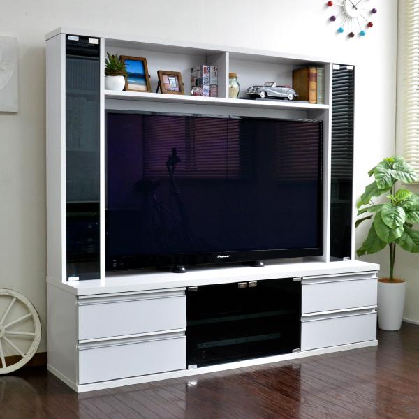 50インチ対応 リビング壁面収納 テレビ台 ゲート型 150cm幅 ホワイト JSTV-5015-WH