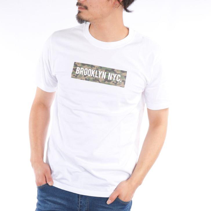 【2019春夏新作】 半袖Tシャツ メンズ クルーネック ボックスロゴ ロゴプリント 迷彩柄 カモフラ 春 夏