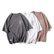 春夏新作メンズTシャツ トップス半袖 丸首 ゆったり シンプル♪ダークグレー/ベージュ/ホワイト3色