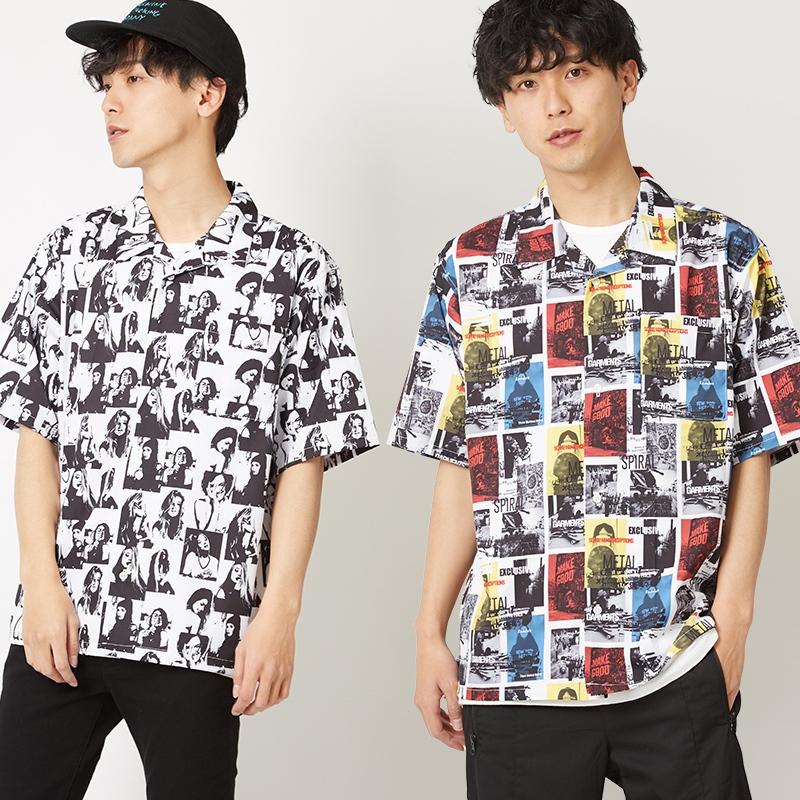 【2019春夏新作】メンズ 総柄フォト コラージュ 半袖 開襟 オープンカラー シャツ