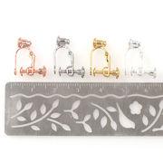 10個 イヤリングコンバーター バネ式 ネジ調整クリップ 4色 カン付き ノンホール DIY 金具 材料 手芸