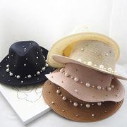 麦わら帽子 日除け帽 パール  帽子 シンプル クロッシェ 超大つば 日焼け止め ハット オシャレ