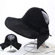 麦わら帽子 日焼け止め UVカット ニット 通気 リボン 韓国 ファッション