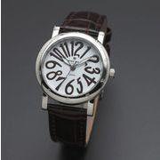 正規品AMORE DOLCE腕時計アモーレドルチェ AD18303-SSWH/BR ラウンド 革バンド レディース腕時計