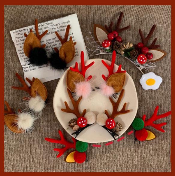 INS風 クリスマス人気 ヘアアクセサリー 髪止め 鹿の角 ファッション