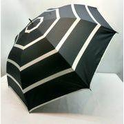 【晴雨兼用】【紳士用】【長傘】ユニセックスビッグボーダー柄UV加工ジャンプ傘