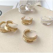 ピアス ゴールド シンプル C型 金属 デザイン ファッション 幾何 韓国