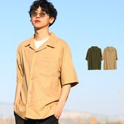 綿 麻 リネン シャツ メンズ 半袖 オープンカラーシャツ 開襟シャツ カジュアル きれいめ 無地