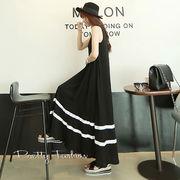 【大きいサイズ】裾2本ラインロング丈タンクワンピース【フリー】