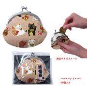 「和物」「猫グッズ」日本製 笑福猫 がま口 2.6 月丸 3色アソート