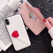 iPhoneケース フェイクレザー カード ハート 封筒 XR XSMAX 韓国