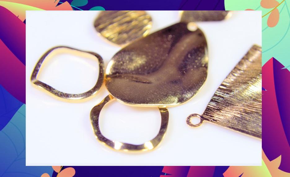 【銅製高品質】アンティークパーツ 幾何パーツ 薄目シンプル幾何パーツ ウェーブメタルパーツ