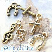 """★L&A Original charm★""""petit charm""""★♪クロス♪音符♪馬蹄♪★K16GP&本ロジウム&金古美★"""
