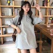 第1 番 ピープル ホーム 春夏 韓国風 ルース シンプル 単一色 ピープル形の襟 ネッ