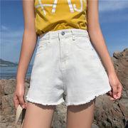第1 番 ピープル ホーム 女性服 新しいデザイン 韓国風 白 デニム ショートパンツ