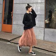 韓国風 春夏季 新しいデザイン 気質 ルース 何でも似合う 着やせ ハイウエスト メッシ