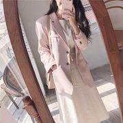 韓国 風 春 新しいデザイン パウダー 柔らかい スーツ 長袖 アウターウェア トップス