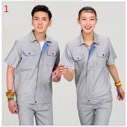 夏季 全3色 作業服 半袖 ろうどうほごようひん 通気 吸汗 棉 シャツ  セットアップ 工場 企業 ジッパー