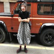韓国風 夏 何でも似合う 単一色 着やせ セミハイ襟 半袖Tシャツ 個性 ポルカドット