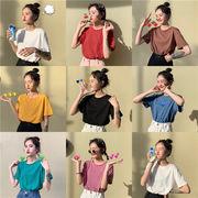 韓国風 夏 新しいデザイン 何でも似合う 単一色 丸襟 ベーシックデザイン キャンディカ