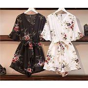 【大きいサイズL-4XL】ファッション/上下セットツナギ♪ホワイト/ブラック2色展開◆