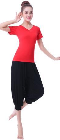フィットネスウェア上下セット 半袖シャツ七分丈ダンスパンツ