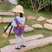 韓国風 グリッドシャツ 新しいデザイン キッズ洋服 ルース 小中児童 + 袖 ハ 帽子付