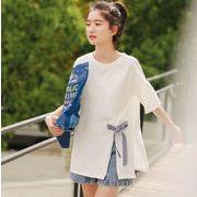レディースファッション tシャツ 個性的 デザイン リボン トップス 韓国