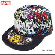 ★MARVEL(マーベル)のボリュームのある厚盛りロゴ刺繍コミック総柄スパイダーマンストリートキャップ★