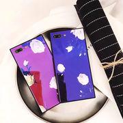 花柄・ローズ・バラ・スクエア・ガラス・Phone7・Phone8・Plus・iPhoneX[スマホケース/iPhoneケース]