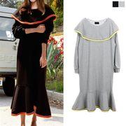 ケープ風 ビッグカラー 裾フレア ロングワンピース バルーン袖 フォーマル ドレス マキシチュニック