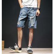 メンズジーンズ 半ズボン ゆったり デニム 大きいサイズ ウエストゴム カジュアル おしゃれ