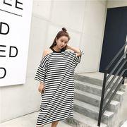 春夏新商品730691  大きいサイズ 韓国 レディース ファッション Tシャツ ワンピース  LL-4L
