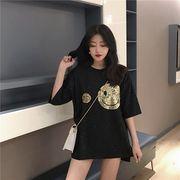 春夏新商品730695  大きいサイズ 韓国 レディース ファッション Tシャツ ワンピース  LL-4L