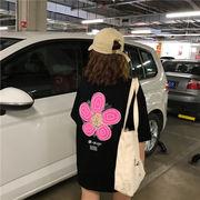 春夏新商品730716  大きいサイズ 韓国 レディース ファッション Tシャツ ワンピース  LL-4L