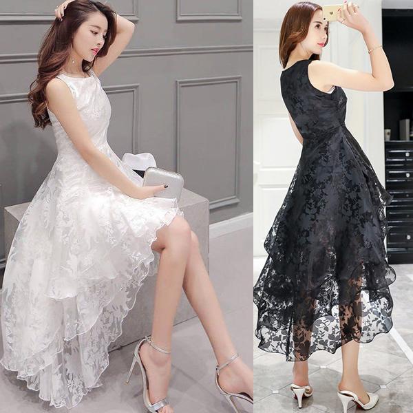 【即納】ウェディングドレス パーティー ドレス フィッシュテール  アシンメトリー ワンピース