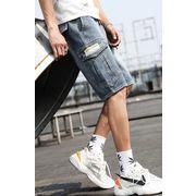 メンズジーンズ デニム パンツ ショート ハーフパンツ カジュアル 大きいサイズ ウエストゴム