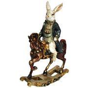 <AMANO>【レジン製ウサギ】アンティークラビット・ロッキングホース