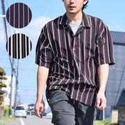 【2019夏新作】 PTストライプ 半袖 オープンカラーシャツ