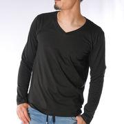 【2019春夏新作】 長袖Tシャツ メンズ Vネック 天竺 細身 無地 春 夏 カットソー ユニセックス レディース
