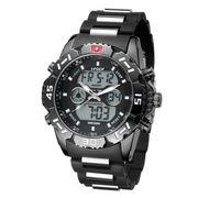 アナデジ HPFS1510-BKBK アナログ&デジタル クロノグラフ 防水 ダイバーズウォッチ風メンズ腕時計
