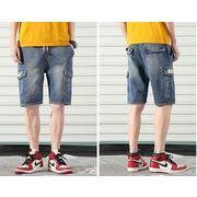 メンズ新作ジーンズ デニム パンツ ショート ハーフパンツ ジョガーパンツ ゆったり 大きいサイズ