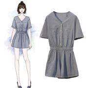 【大きいサイズXL-5XL】ファッションツナギ♪ブラック/ブルー2色展開◆